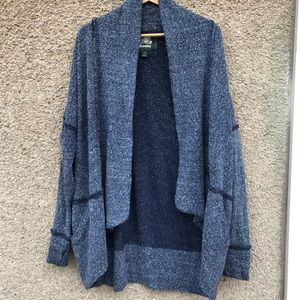 Roots Waterfall Cardigan Blue Heather Large